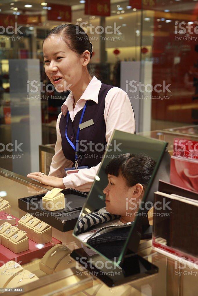 Jewelry Sales Conversation royalty-free stock photo