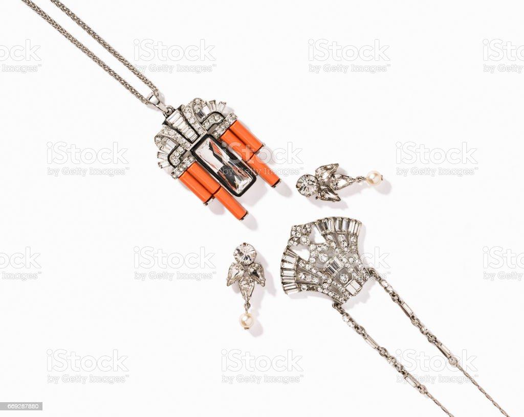 Jewelry set isolated on white background stock photo