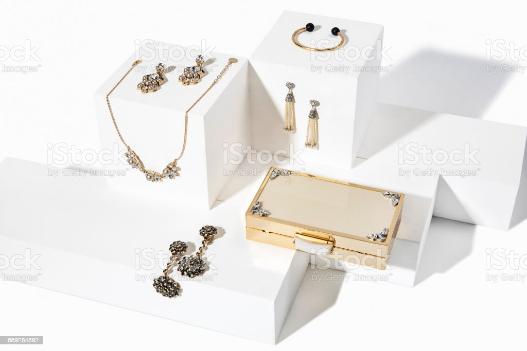 Jewelry set isolated on white boxes stock photo