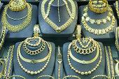Jewelry market, gold accessories