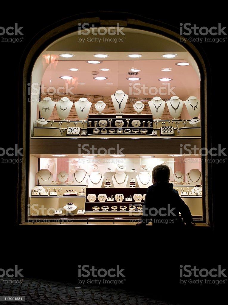 Jewelry shop window stock photo
