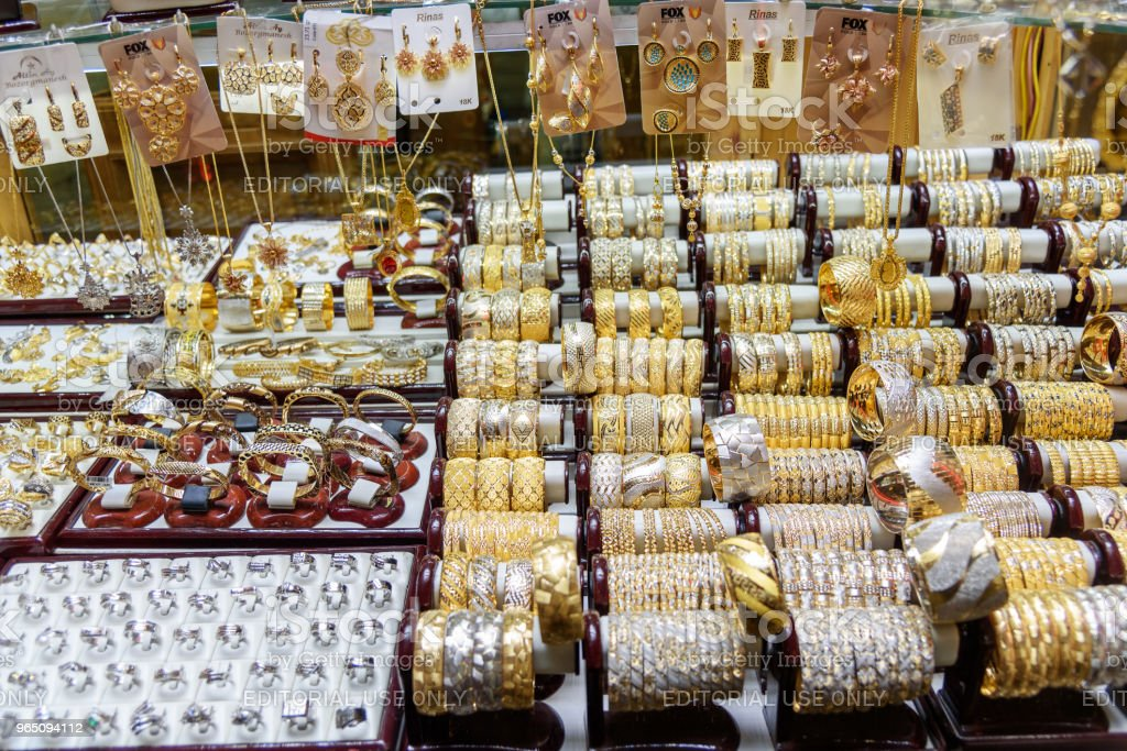 Jewelry shops of Amir Bazaar or Gold Bazaar in Tabriz. East Azerbaijan province. Iran royalty-free stock photo