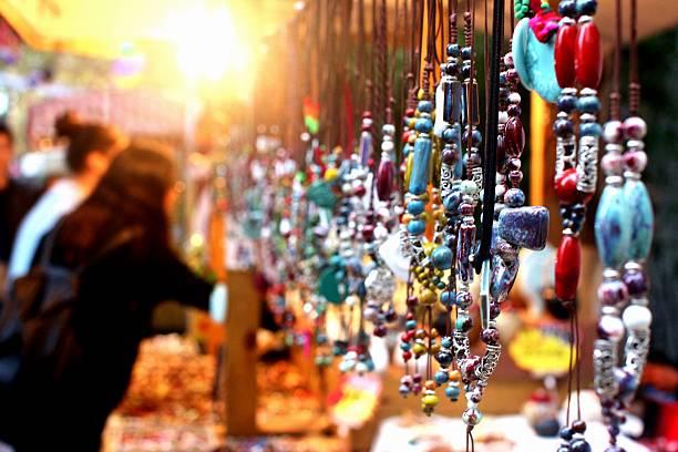 Jewelry stall at a night market stock photo