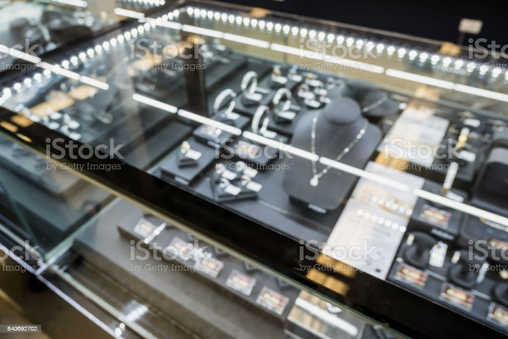jewelry store blurred background with bokeh light stock photo