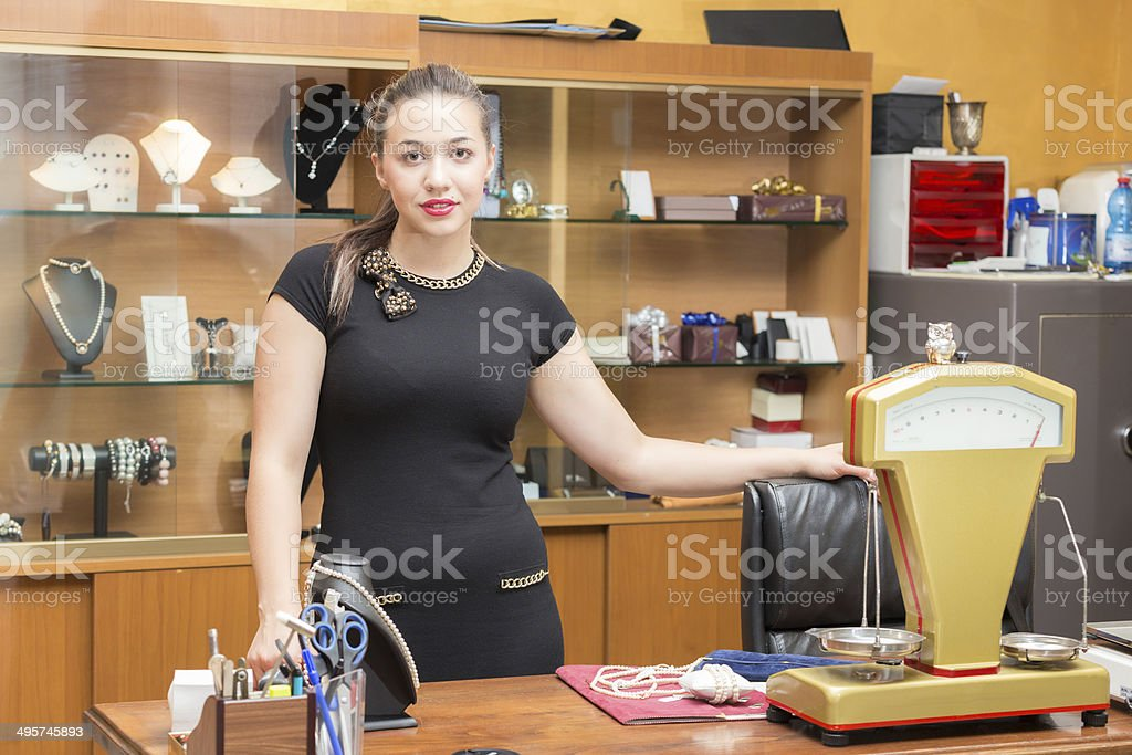 Jewelry store owner stock photo