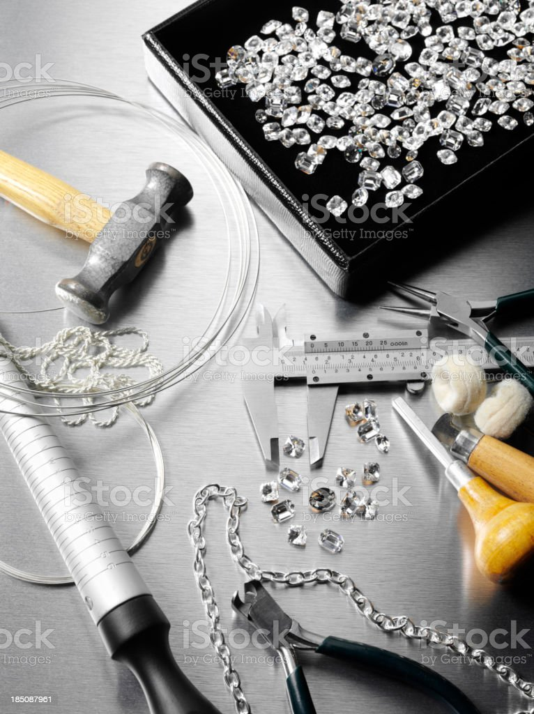 Jewels and a Jewelers Work Tools stock photo