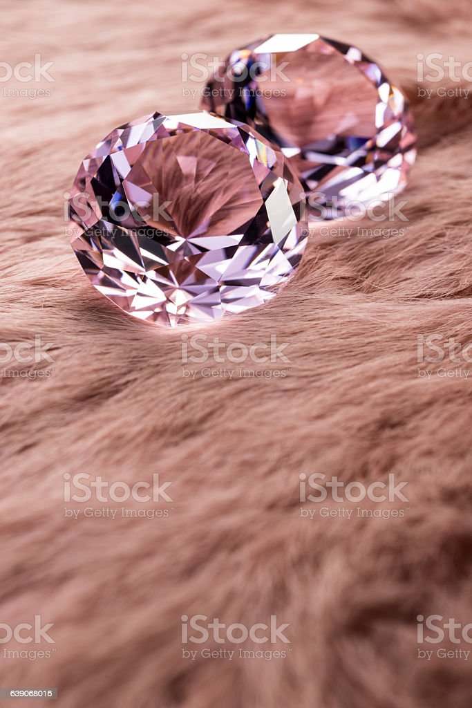 Jewels on fur background stock photo