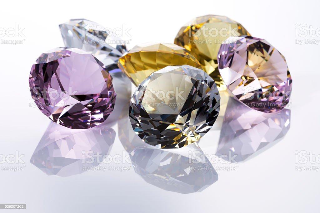 Jewels on white background stock photo