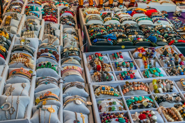Jewerly stall in a market stock photo
