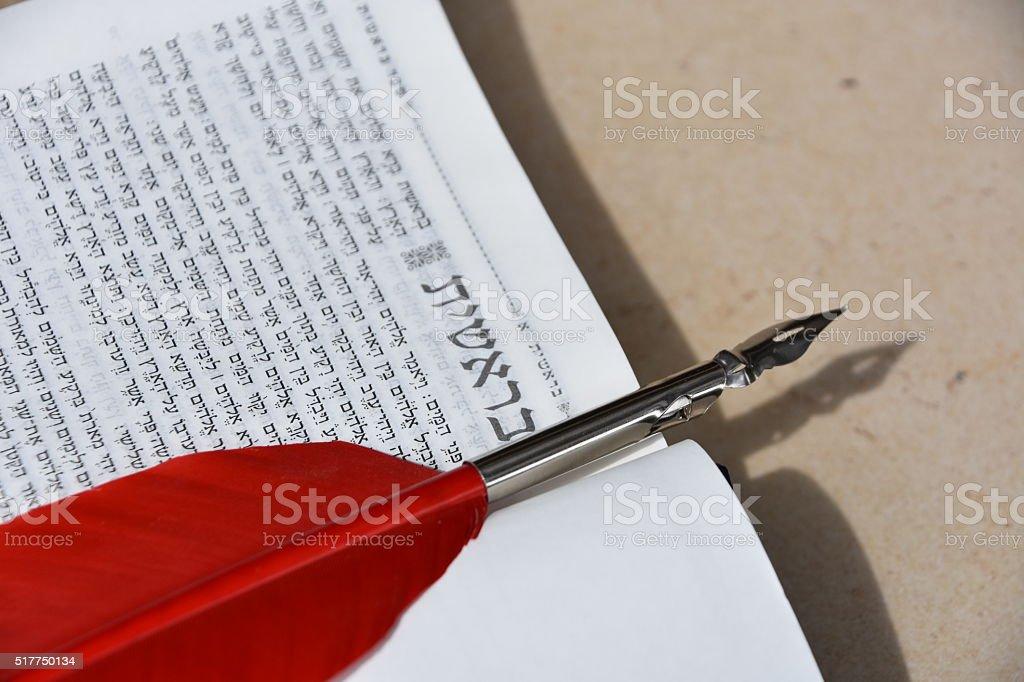 Jewish Bible open on Genesis stock photo