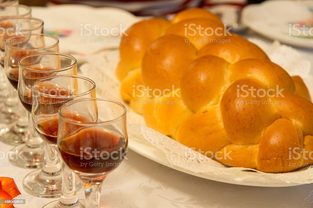 Jewish Braided Bread with Red Wine stock photo