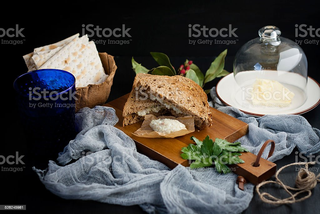 Jewish breakfast with herring pate stock photo