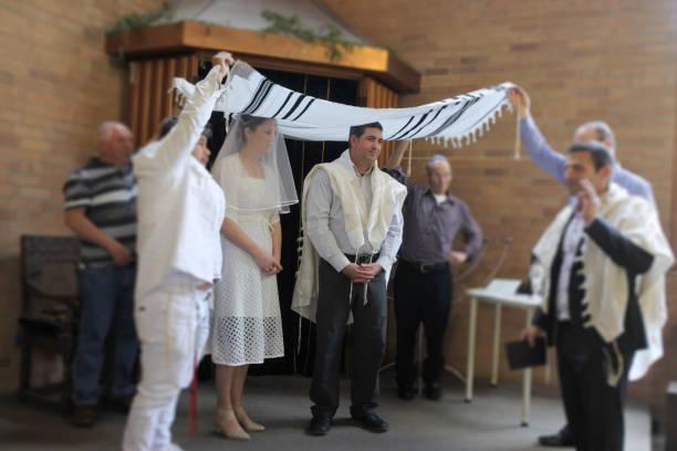 żydowska panna młoda i oblubieniec ślub - judaizm zdjęcia i obrazy z banku zdjęć