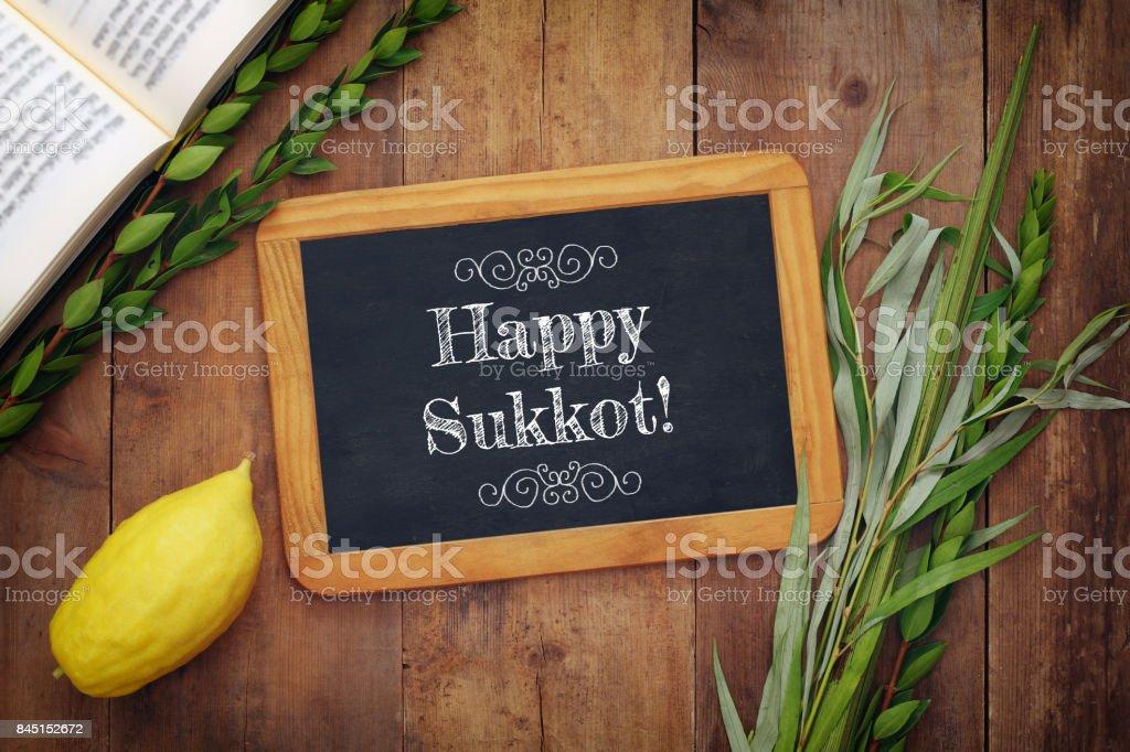 Jewish fall festival of Sukkot. Traditional symbols (The four species): Etrog, lulav, hadas, arava stock photo