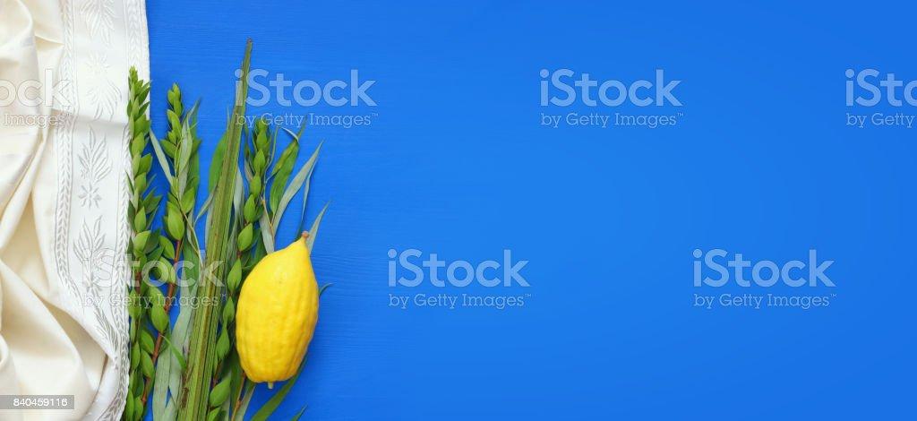 Jewish festival of Sukkot. Traditional symbols (The four species): Etrog, lulav, hadas, arava stock photo