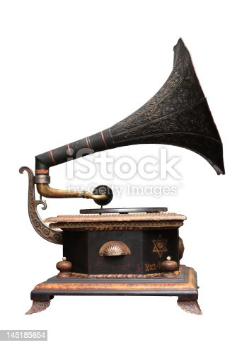 An old gramophone ornate with Jewish motives.