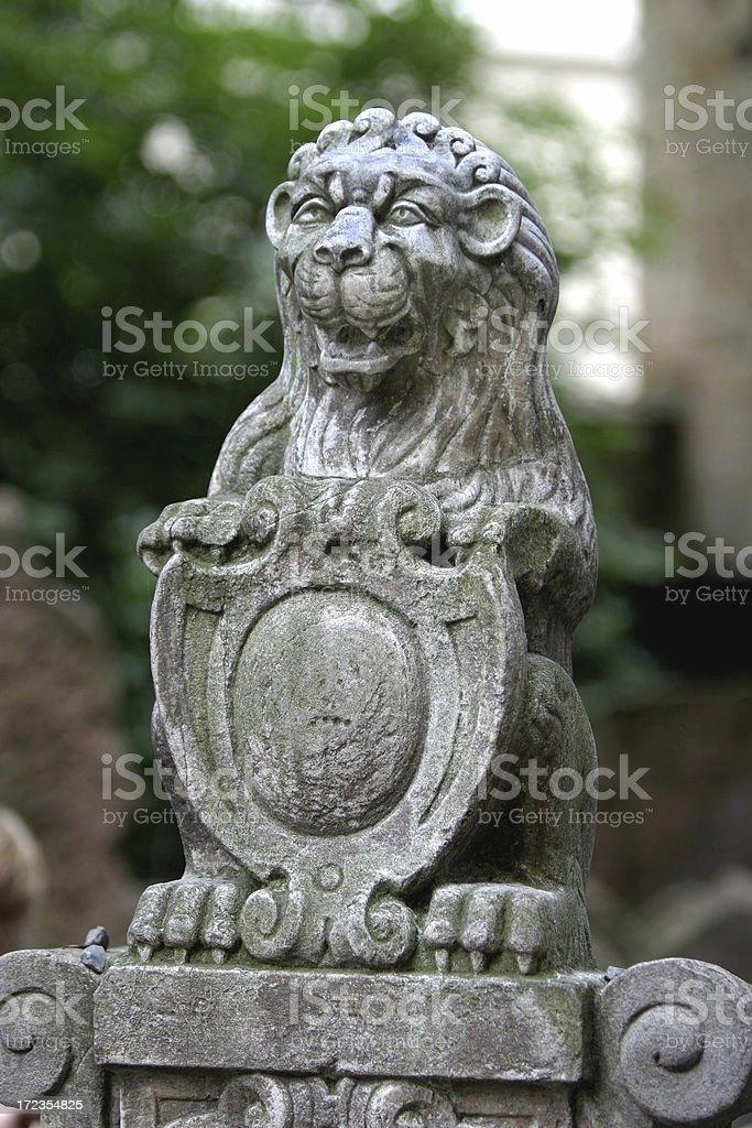 Jewish Grave Cemetery, Prague Lion Gravestone royalty-free stock photo