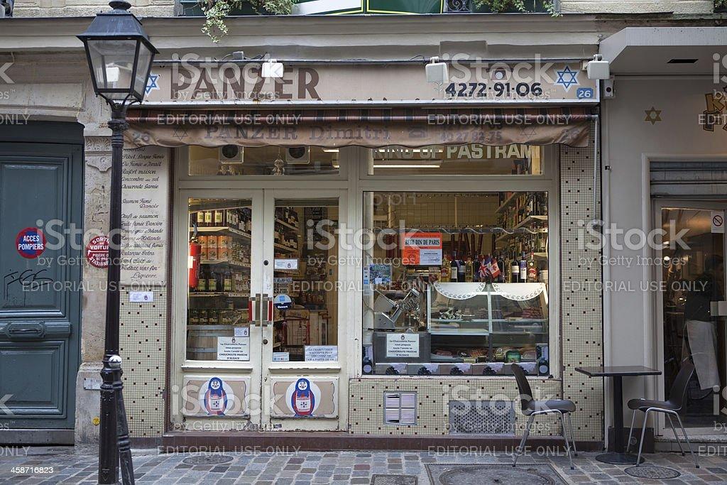 Jewish grocery in Paris stock photo