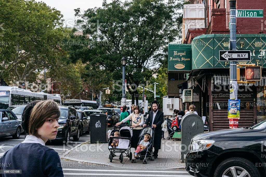 Jewish hassidic on the street. stock photo
