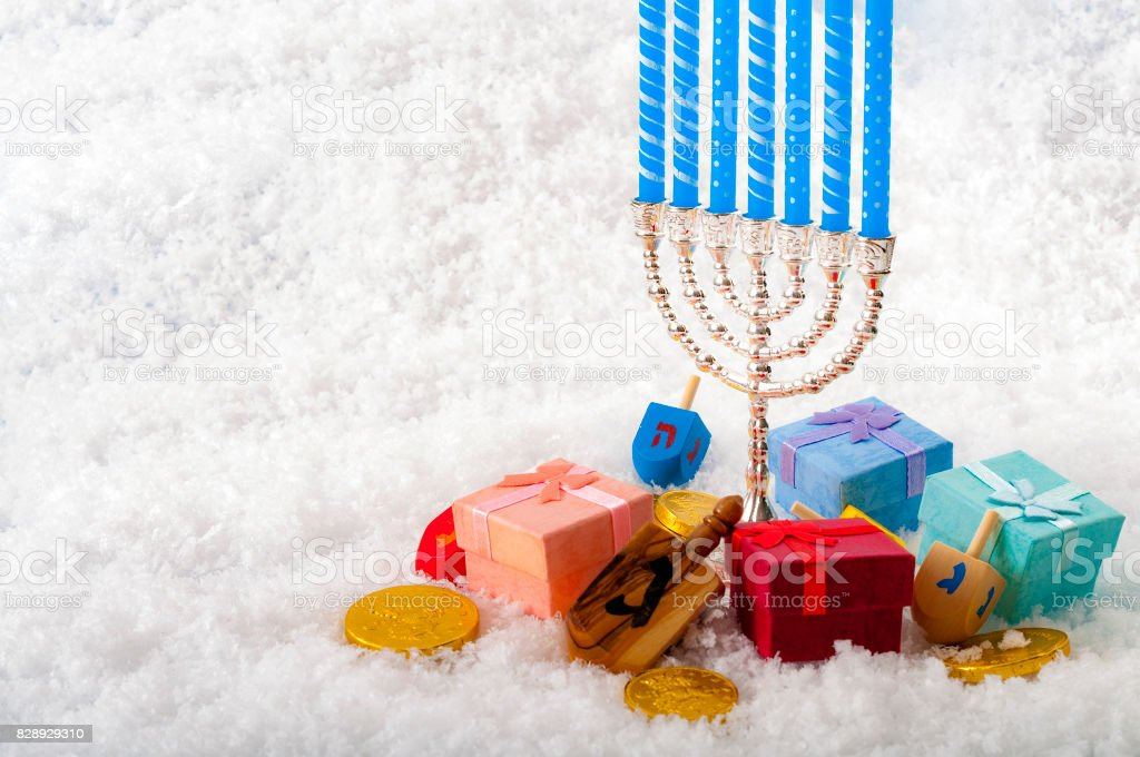 Jewish holiday and Hanukkah celebration stock photo