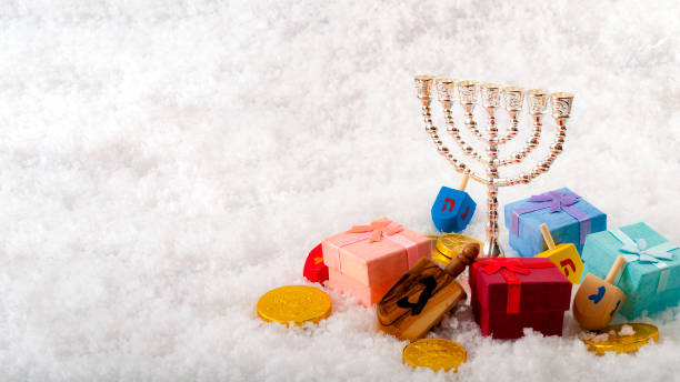 Jewish holiday and Hanukkah with copyspace stock photo