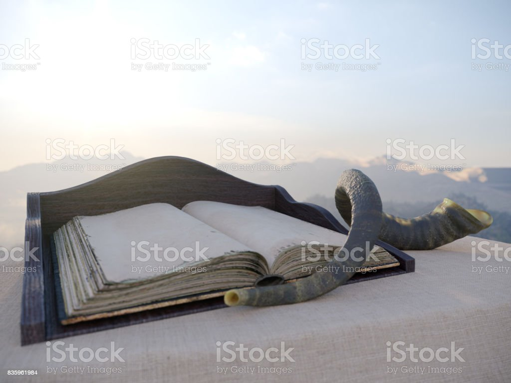 jewish holiday background with old book and landscape concept photo stock photo