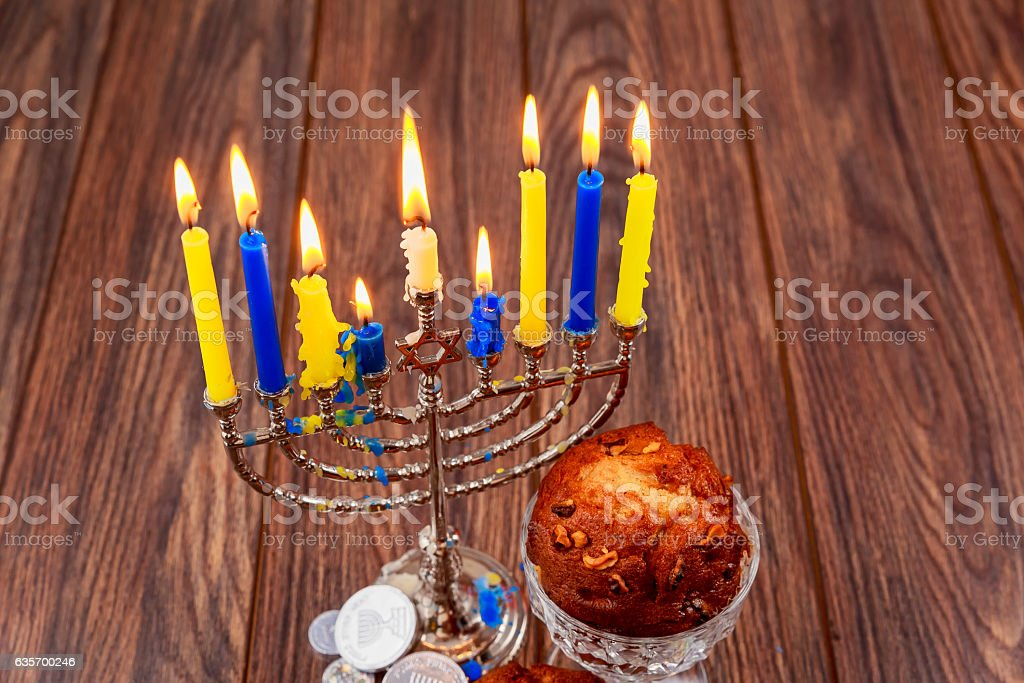 Jewish holiday cupcakes composed of elements the Hanukkah royalty-free stock photo