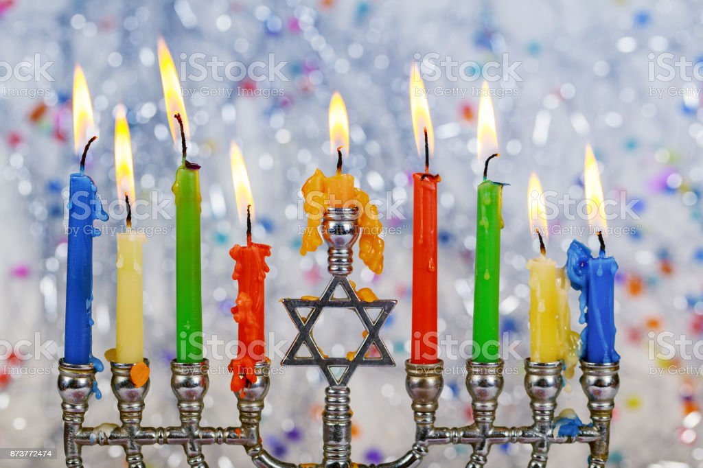 Jewish holiday hannukah symbols - menorah stock photo