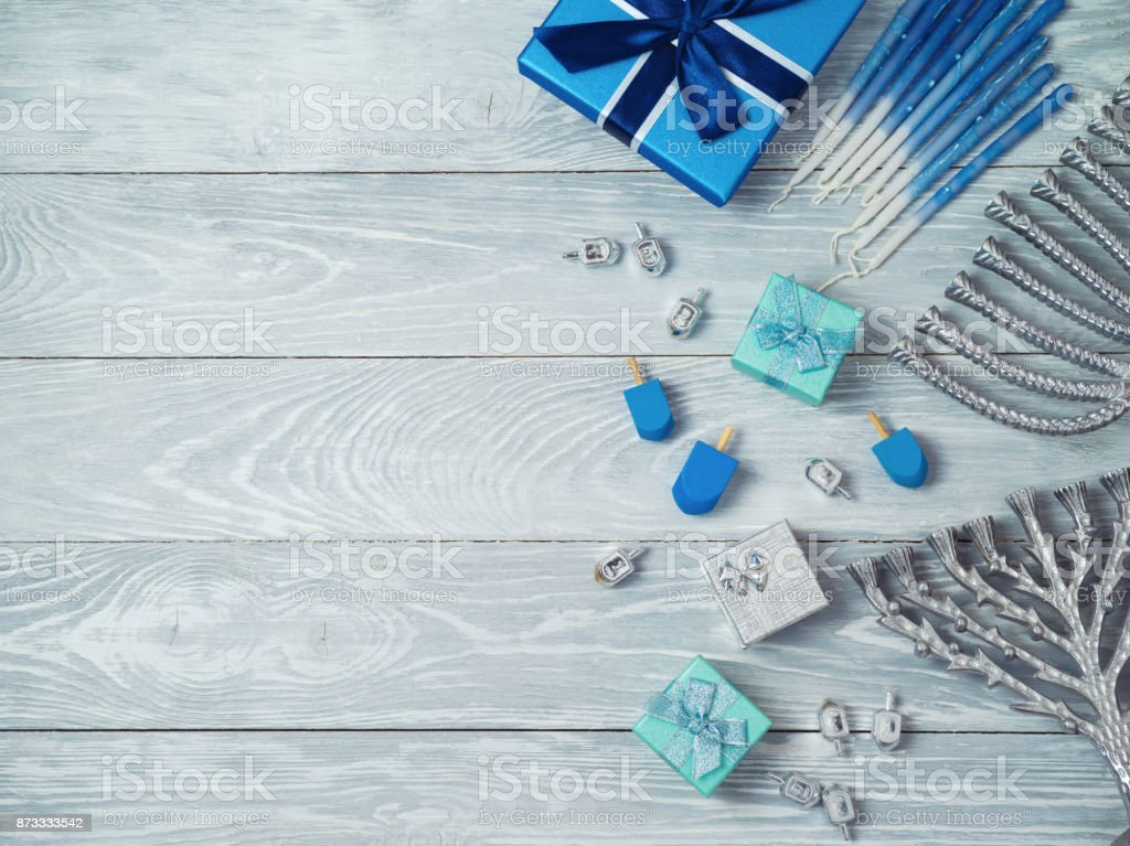 Jewish holiday Hanukkah background stock photo
