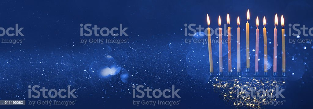 jewish holiday Hanukkah background with menorah candelabra) stock photo