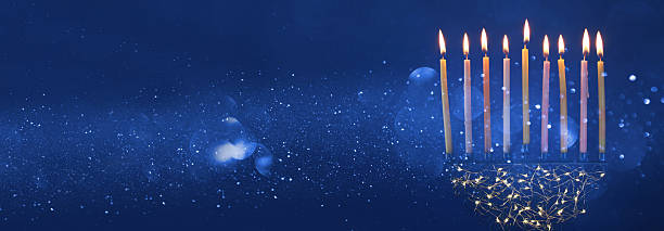 jewish holiday hanukkah background with menorah candelabra) - chanukka stock-fotos und bilder