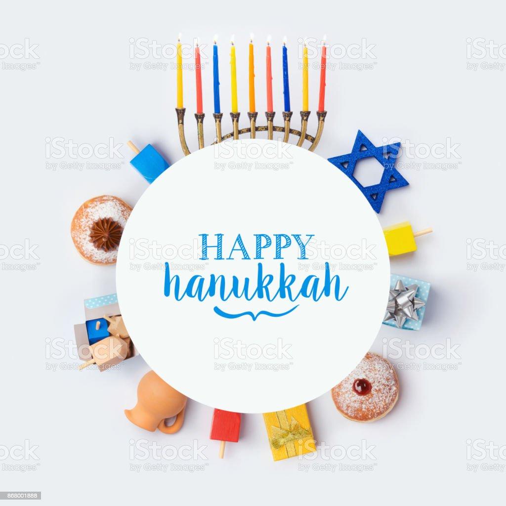 ユダヤ人の祝日のハヌカのバナー デザイン ストックフォト