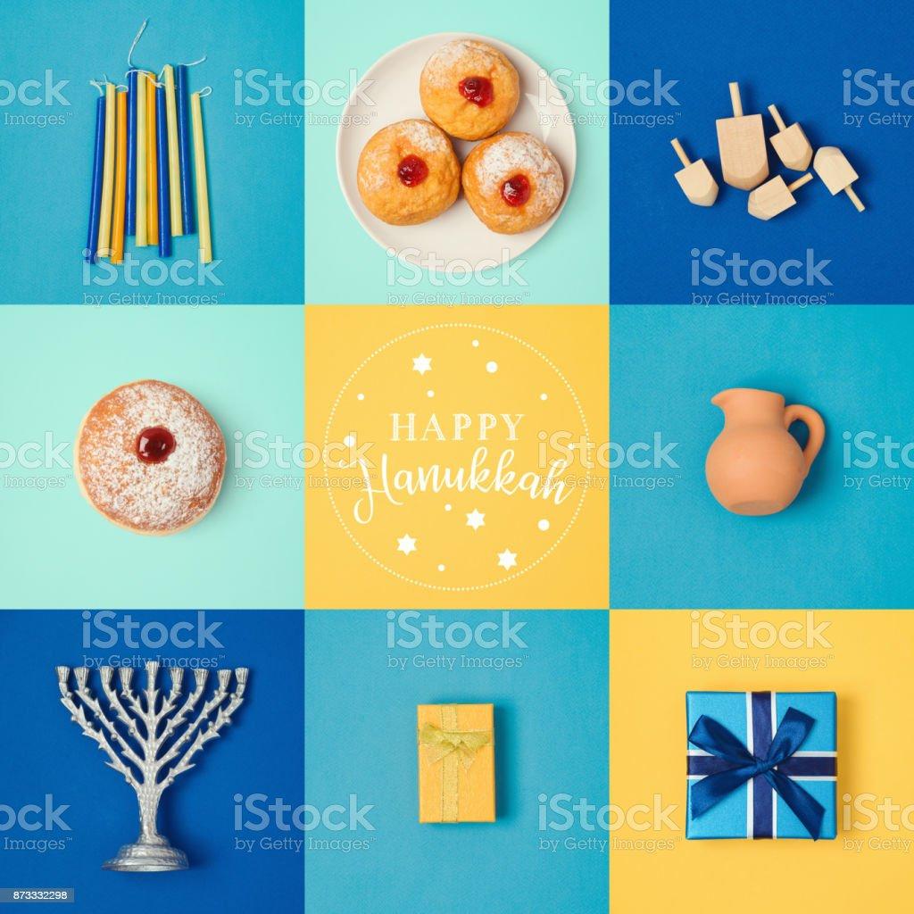 Jewish holiday Hanukkah banner design with menorah, gift box, dreidel...