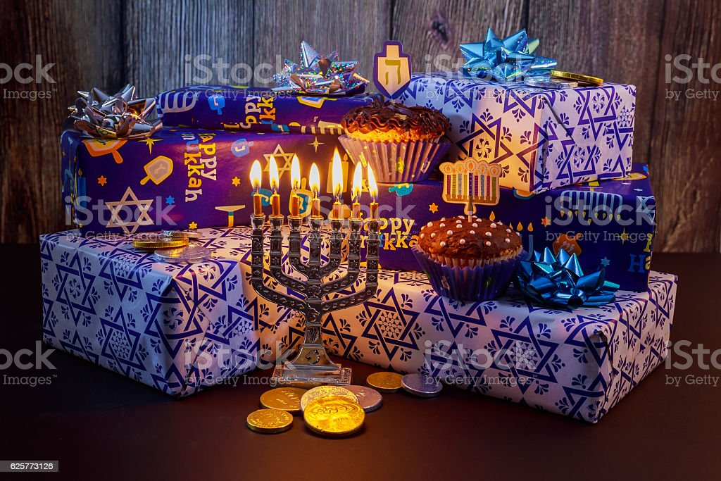 Jewish holiday Hanukkah Beautiful Chanukah decorations blue  silver with stock photo