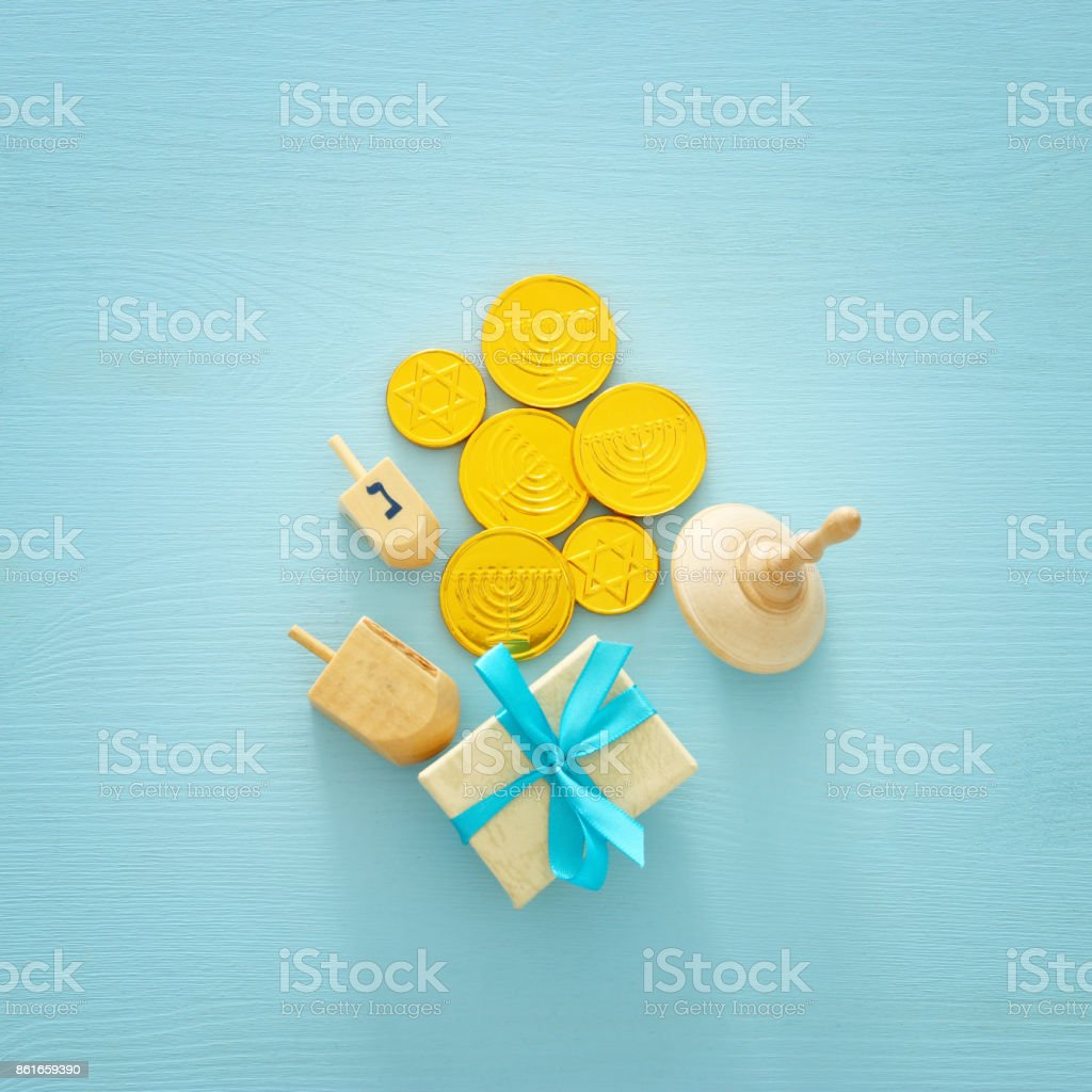 jewish holiday Hanukkah image background with traditional spinnig top and chocolate coins stock photo