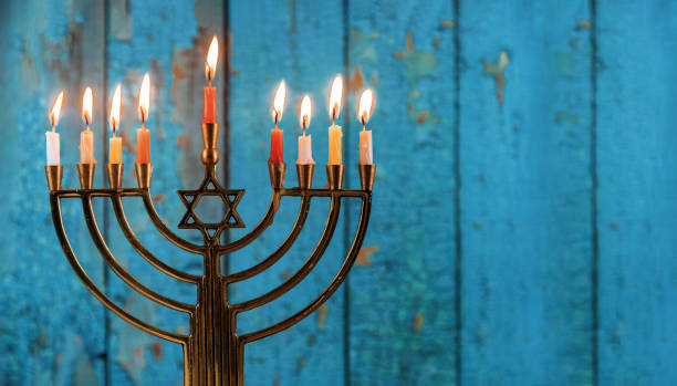 jewish holiday Hanukkah with menorah traditional candelabra Hanukkah with menorah jewish holiday traditional candelabra with candles Menorah hanukkah stock pictures, royalty-free photos & images