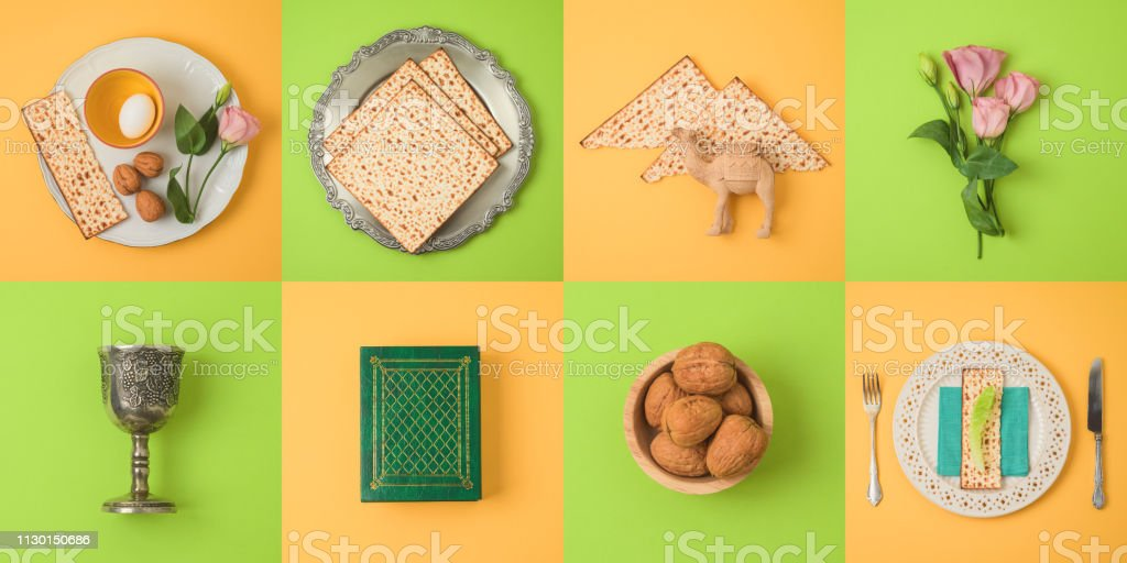 Jewish holiday Passover concept with matzo, seder plate and spring flowers. stock photo
