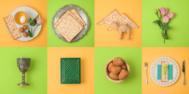 Jewish holiday Passover concept with matzo, seder plate and spring flowers. Jewish holiday Passover concept with matzo, seder plate and spring flowers. Top view from above. Flat lay passover stock pictures, royalty-free photos & images