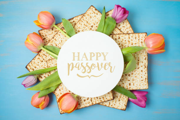 Jewish holiday Passover greeting card with matzah and tulip flowers on wooden table. Pesach background. Jewish holiday Passover greeting card with matzah and tulip flowers on wooden table. Pesach background. Top view from above. passover stock pictures, royalty-free photos & images