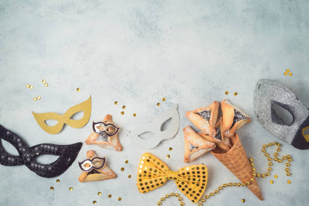 Jewish holiday Purim celebration background. Top view from above stock photo