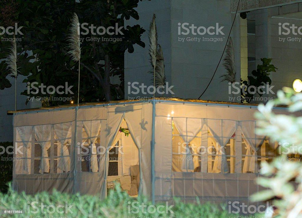 Jewish Holiday Sukkot . Evening.  Sukkah stock photo