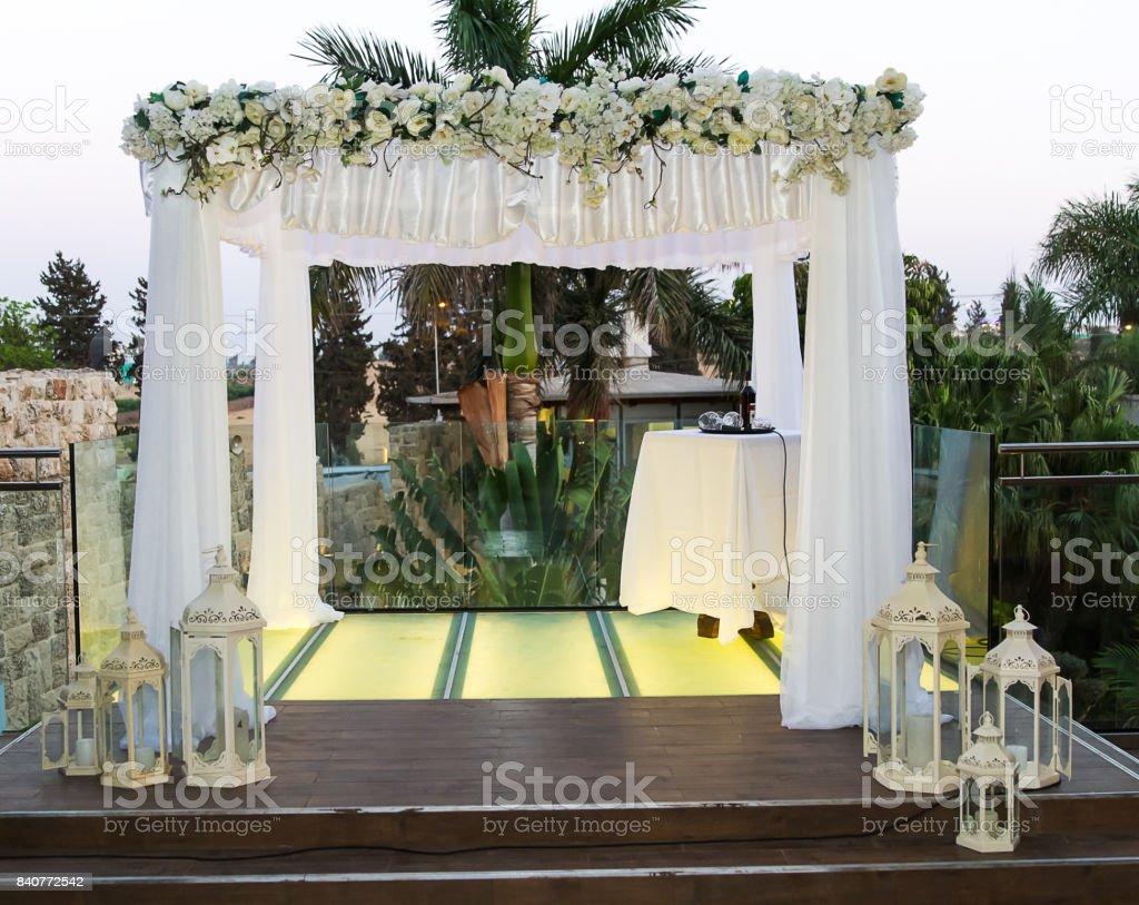 Jewish Hupa , wedding putdoor . stock photo