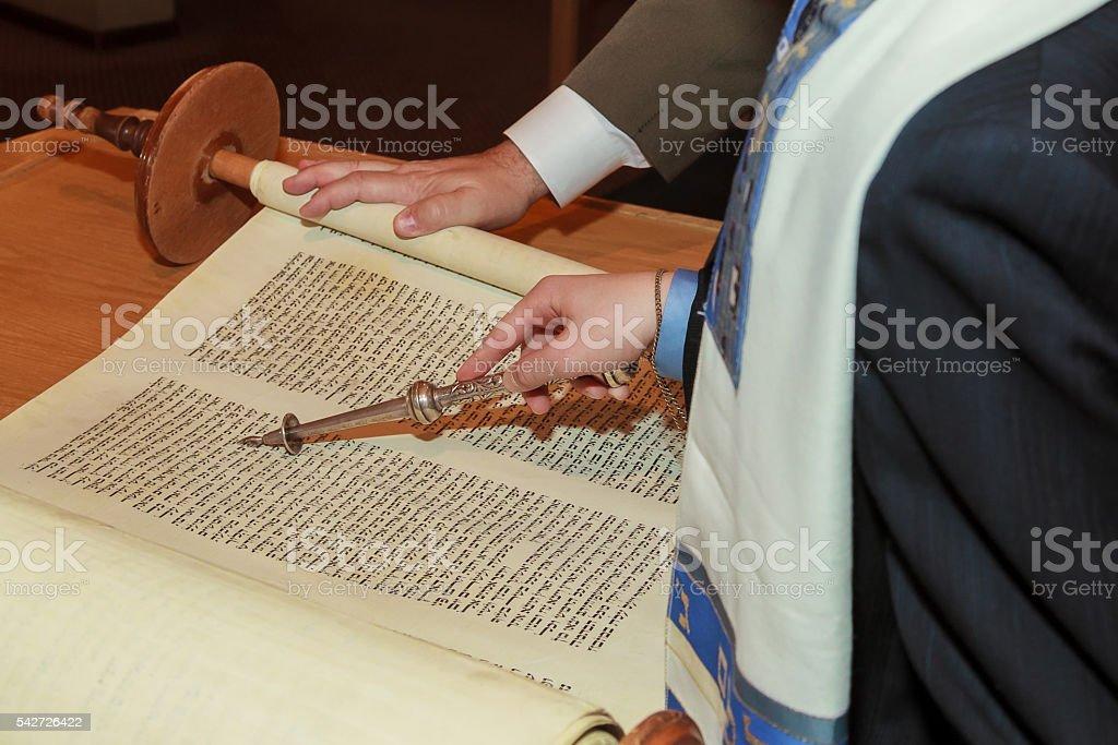 Jewish man dressed in ritual clothing stock photo