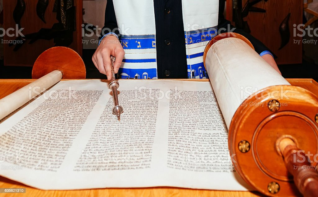 Jewish man dressed in ritual clothing Torah at Bar Mitzvah - Photo