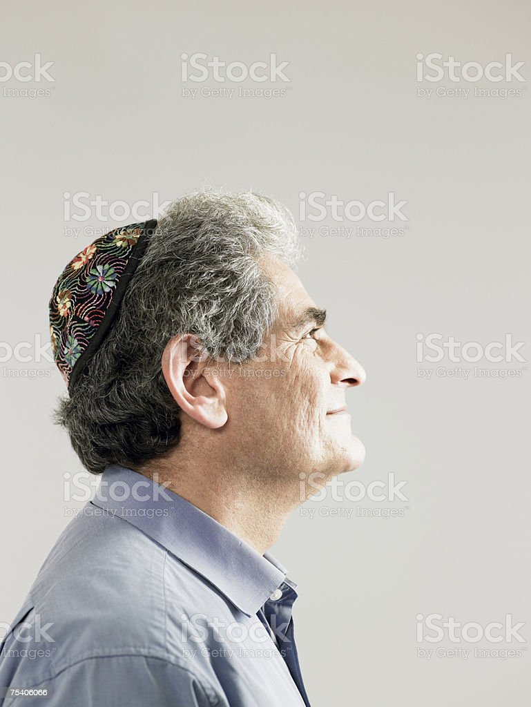 Jewish man wearing a kippah stock photo