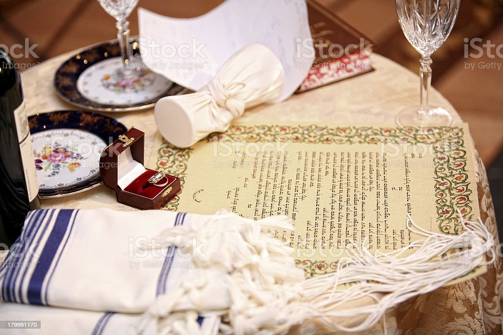 Jewish marriage contract stock photo