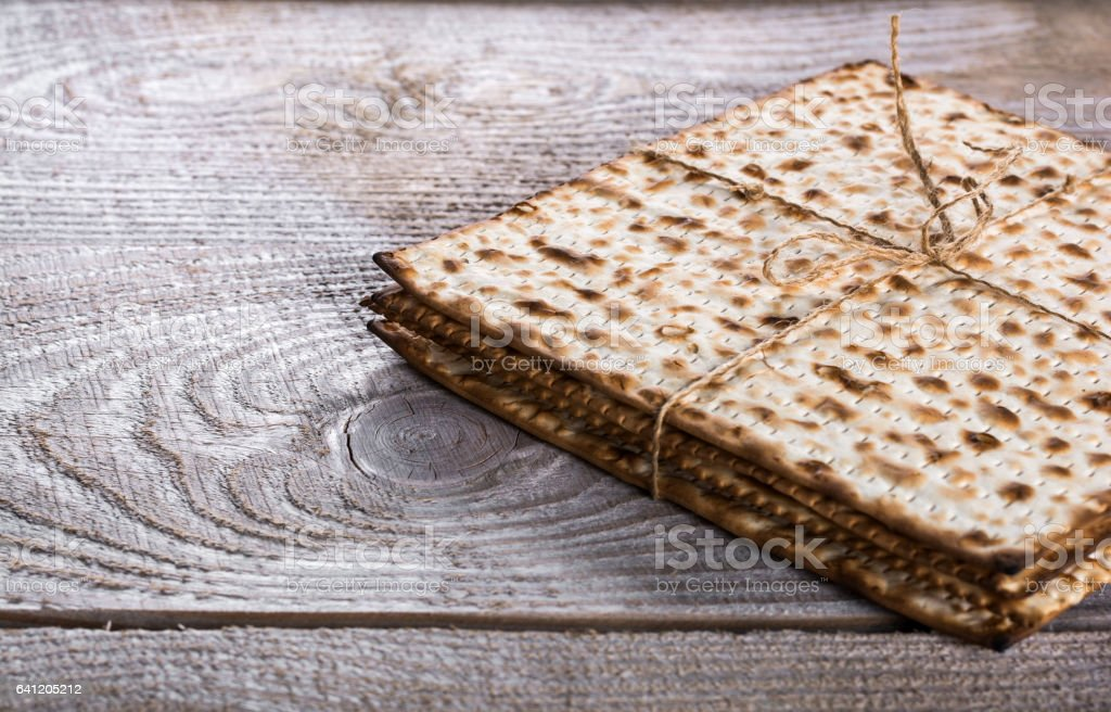Jewish matza on Passover stock photo