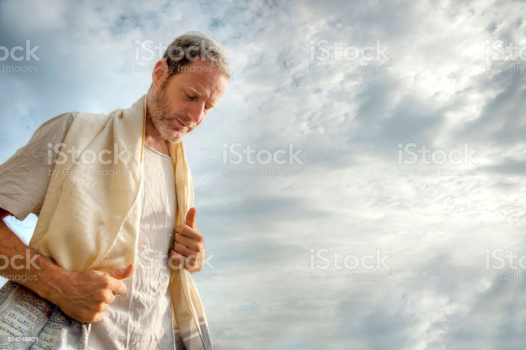 Jewish morning prayer stock photo