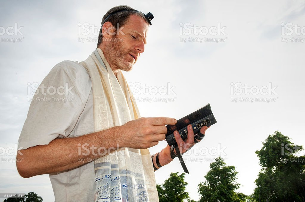 Jewish morning prayer stock photo