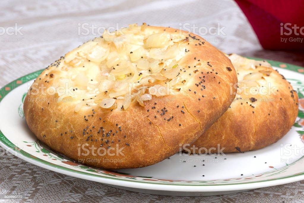 Jewish onion bread - Pletzel stock photo